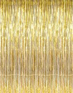 3 ft X 8 ft. Metallic Gold Foil Fringe Curtains Door Window Curtain Party Decoration- (Gold, 3′ X 8′- Pack of 3)