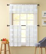 3 Piece Sheer Window Curtain Set: White Textured Stripe Design