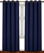 Blackout Room Darkening Curtains Window Panel Drapes – (Navy Blue Color) 2 Panel Set, 52 inch wide by 84 inch long each panel by Utopia Bedding