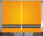 Yellow Decor Curtains by Ambesonne, Taxi Cab Yellow with line of Checkers Classic Artdeco Arts Print, Living Room Bedroom Window Drapes 2 Panel Set, 108W X 84L Inches, Merigold White and Black