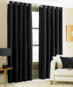 Gorgeous Home (#32) 1 PANEL SOLID PURE BLACK THERMAL FOAM LINED BLACKOUT HEAVY THICK WINDOW TREATMENT CURTAIN DRAPES SILVER GROMMETS * AVAILABLE IN DIFFERENT SIZES * (63″ LENGTH)