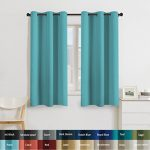 Turquoize Solid Blackout drapes, Room Darkening, Aqua, Themal Insulated, Grommet/Eyelet Top, Nursery/Living Room Curtains Each Panel 42″ W x 63″ L (Set of 2 Panels)