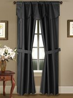 GorgeousHome 5PC Rod Pocket Faux Silk Room Darkening Blackout Window Curtain, 1 Fringe Valance & 2 Panels Attached with 2 Tie Backs 63″ 84″ 95″ Length (63″ length, BLACK)