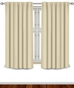 Blackout Room Darkening Curtains Window Panel Drapes – Beige Color 2 Panel Set, 52 inch wide by 63 inch long each panel- 7 Back Loops per Panel- 2 Tie Back Included – by Utopia Bedding