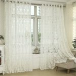 R.LANG Solid Grommet Top Beautiful Design Jacquard sheer Curtain 1 Pair Cream White 46″W X 72″ L