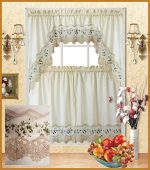 Fancy Collection 3pc Beige with Embroidery Floral Kitchen/cafe Curtain Tier and Valance Set 001092 (Beige/Green)