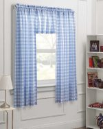 Dream Factory Gingham Check 3-Piece Kids Bedroom Curtain Panel Set, Blue White, 63-Inch