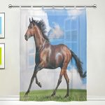 JSTEL Horse Pattern Floral Print Tulle Voile Door Window Room Sheer Curtain Drape 1 Panel Scarf Valances Wide Width Gauze Curtain for Bedroom 55 x 78 Inch , Single panel