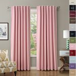 ChadMade Back Tab / Rod Pocket Pink 52Wx72L Inch (Set of 2 Panels) Solid Thermal Insulated Blackout Curtain Drape