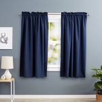 AmazonBasics Room Darkening Blackout Curtain Set with Tie Backs – 52 x 63 Inches, Navy (2 Panels)