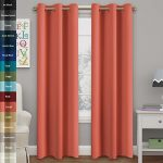 Turquoize Solid Blackout drapes, Room Darkening, Coral, Themal Insulated, Grommet/Eyelet Top, Nursery/Living Room Curtains Each Panel 42″ W x 84″ L (Set of 2 Panels)