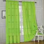 Onestopshop's Lime Green Voile Sheer Panel Drape Curtain for Your Window Fully Stitched and Hemmed 55×84″