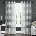 Exclusive Home Navarro Striped Sheer Grommet Top Window Curtain Panels (Set of 2), 54 x 84″