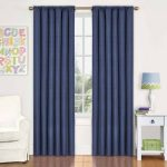 Eclipse Kids Kendall Blackout Window Curtain Panel with Easy Care, Machine Washable (42 x 63, Denim)