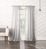 No. 918 Tayla Crushed Sheer Voile Rod Pocket Curtain Panel, 50″ x 63″, Gray