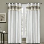 Pair of Two Top Grommet Blackout Thermal Insulated Curtain Panels, Triple-Pass Foam Back Layer, Elegant and Contemporary Milan Blackout, White, 54″ W by 96″ L Each Panel (108″ W by 96″ L Pair)
