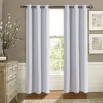 Aquazolax Blackout Window Curtains 42″x63″ Solid Eyelets Top Premium Thermal Insulated for Office, 2 Panel Set, Greyish White
