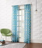 No. 918 Maddox Ikat Crushed Sheer Voile Curtain Panel, 50″ x 95″, Marine Teal