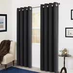 Room Darkening Soild Color Grommet Window Curtain For Living Room 3 Dimensions(52 by 84inch, Black)