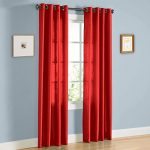 Gorgeous Home 1 PANEL SOLID BRIGHT RED SEMI SHEER WINDOW FAUX SILK ANTIQUE BRONZE GROMMETS CURTAIN DRAPES MIRA * AVAILABLE IN DIFFERENT SIZES * (84″ LENGTH)