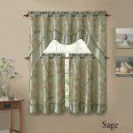 3 Piecen Double Layer Leaf Embroidered Kitchen Window Curtain Set with Valance (Sage)