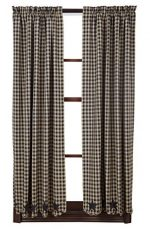 63 in. Scalloped Short Panel Curtain in Black – Set of 2