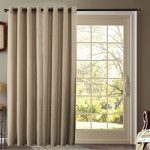 Furniture Fresh – Burlap Look – Blackout Thermal Faux Linen Pair of Curtain Panels – One Patio Panel – 102 Inches by 84 Inches – Beige
