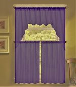 GorgeousHomeLinen (K66) 3 PC Solid Voile Rod Pocket Kitchen Window Sheer Curtain Set 2 Tier Panels, 1 Swag Valance (PLUM)