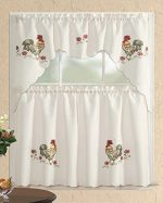 3 Piece Kitchen Curtain Set: 2 Tiers and 1 Valance Beige with Rooster- 058
