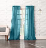 No. 918 Tayla Crushed Sheer Voile Rod Pocket Curtain Panel, 50″ x 63″, Marine Teal