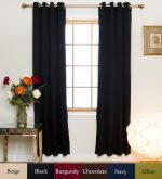 Black Nickel Grommet Top Energy Saving Thermal Insulated Blackout Curtain 120 Inch Length Pair