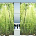 ALAZA Window Curtain Sheer Panels,Nature Landscape Green Forest Tree Leaves,Door Window Treatments Sheer Curtains Gauze Curtains Living Room Bedroom Window Tie Top Curtain 55×78 inch Two Panels Set