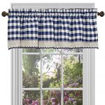 Buffalo Check Plaid Gingham Custom Fit Window Curtain Treatments By GoodGram – Assorted Colors, Styles & Sizes (Single 14 in. Valance, Navy)
