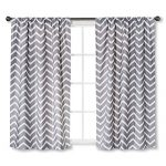 Circo Grey Chevron Light Blocking Window Curtain Panels (2, 63″X42″)