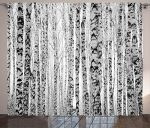 Lake House Decor Curtains by Ambesonne, High Winter Trunks Leafless Nude Raw Birch Timber Trees Forest Environment Image, Living Room Bedroom Window Drapes 2 Panel Set, 108W X 84L Inches, Grey
