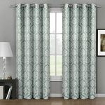 Aryanna Aqua Top Grommet Jacquard Window Curtain Panel, Set of 2 Panels, 108×120 Inches Pair, by Royal Hotel