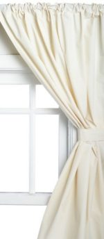Carnation Home Fashions Vinyl Bathroom Window Curtain, Bone, 45″ x 36″