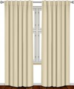 Thermal Insulated Blackout Curtains Beige , 2 Panels , 52 inch wide by 84 inch long each panel, 7 Back Loops per Panel, 2 Tie Back Included – by Utopia Bedding