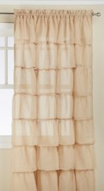 Lorraine Home Fashions Gypsy Shabby Chic Layered Ruffle Window Curtain Panel, 60 by 63-Inch, Sand