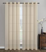 Urbanest 54-inch by 96-inch Sahara Set of 2 Linen Sheer Curtain Drapery Panels with Grommets, Cream