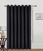 GorgeousHomeLinen (K100) 1 Black Privacy Room Divider Solid Grommet Top Heavy Thick Thermal Drape Curtain Panel, 100″W X 84″L Inches