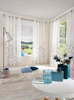 Uphome 1-Pair Wavy Leaves Vine Window Sheer Curtain Panels – Iron Grommet Top Voile Window Treatment,55 x 96 Inch,White