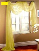 Gorgeous Home 1 PC SOLID YELLOW SCARF VALANCE SOFT SHEER VOILE WINDOW PANEL CURTAIN 216″ LONG TOPPER SWAG