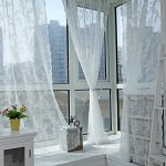 Edal Panel Sheer Voile Window Curtain Panel Drape Room Floral Tulle Scarfs Valances White
