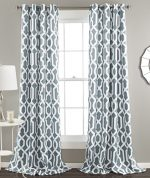 Lush Decor Edward Room Darkening Window Curtain Panel, 84 x 52-Inches,Blue, (Set of 2)
