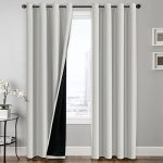 FlamingoP Full Blackout White Curtains Faux Silk Satin with Black Liner Thermal Insulated Window Treatment Panels, Grommet Top (52 x 96 Inch, Set of 2)