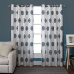 Exclusive Home Sedgewick Medallion Linen Blend Grommet Top Window Curtain Panels 54″ X 84″, Teal, Set of 2 / Pair