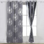 Deconovo Fashion Light Grey Flower Foil Printed Thermal Insulated Bedroom Grommet Blackout Curtains 52″W x 95″L – 1 Pair