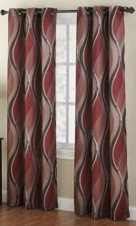 No. 918 Intersect Wave Print Casual Textured Curtain Panel, 48″ x 84″, Paprika Red