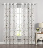 Window Elements Wavy Leaves Embroidered Sheer Extra Wide 54 x 84 in. Grommet Curtain Panel, Chocolate